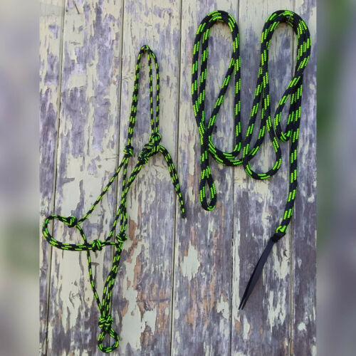Choice of size Black /& Lime Green Rope Halter /& 15ft Lead with Loop Set