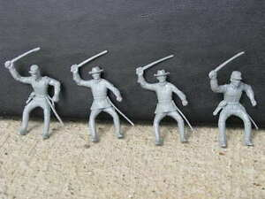 MARX-CONFEDERATE-CIVIL-WAR-CAVALRY-SOLDIERS-1-32-54-MM-TOY-GRAY-PLAYSET