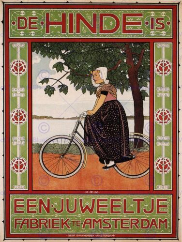 VINTAGE ADVERT BICYCLE AMSTERDAM NETHERLANDS POSTER ART PRINT PICTURE BB1693B