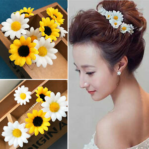 Women wedding party white small daisy flower hair clips hairpin us image is loading women wedding party white small daisy flower hair mightylinksfo