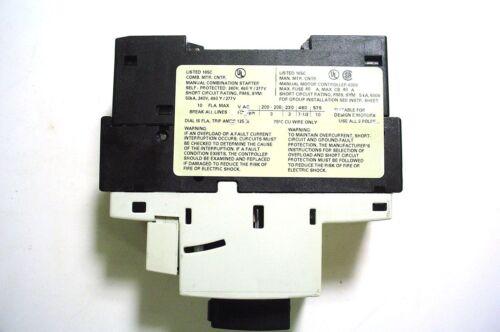 Siemens 3rv1021-1ja10 Motor Starter Protector 6-10amp 3pole 1no//1nc