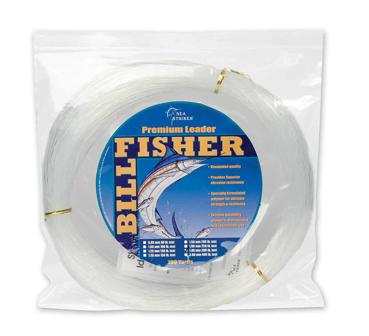 SEA STRIKER Billfisher Mono Leader Coil 150 Lb. 1.3mm 100 Yd Clear LC100-150