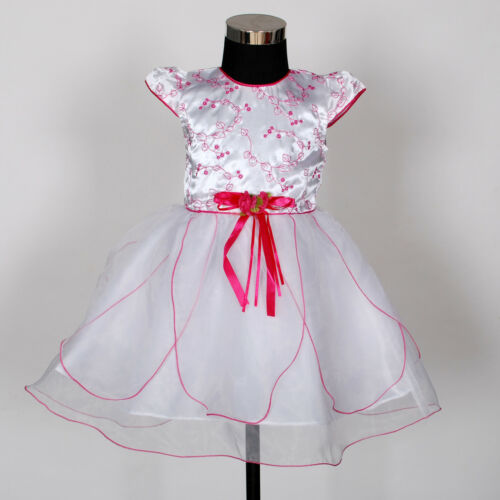 Baby Christening Party Dress and Bonnet Red Lilac Hot Pink 0 3 6 9 12 Months