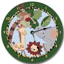 Nursery Wall Clock SAFARI JUNGLE -  includes Giraffe, Lion, Elephant, Monkey