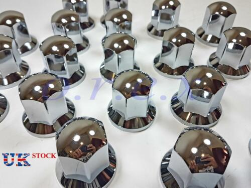 60x 32mm LONG Lux Plastic CHROME Wheel Nut Cover Cap Truck Scania Mercedes Volvo