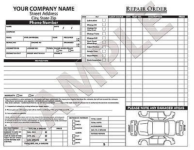Quote Garage Repair Proposal Carbonless Form Estimate 100 Custom Invoice