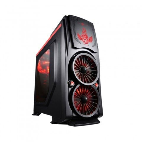 CIRCLE GAMING CABINET PHOENIX WITH TRANSPARENT SIDE PANEL & 5 LED FANS