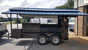 Mini-T-Rex-Roof-BBQ-Smoker-36-Grill-Trailer-Firewood-Storage-Mobile-Food-Truck