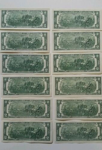 12 note $2 Two Dollar Bills FROM ALL 12 Districts Set In 12-Pocket PORTFOLIO