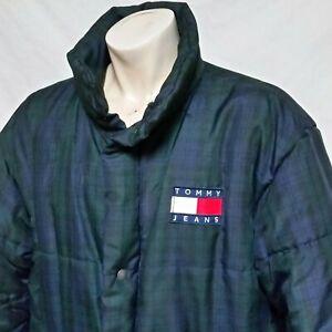 Vintage 90/'s TOMMY HILFIGER Blue Down Coat Jacket Size XL