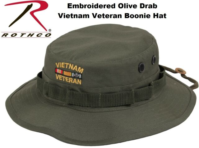 f750742b8 Olive Drab Military Wide Brim Vietnam Veteran Boonie Hat With Embroidered  5911