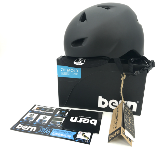 BERN Helmet Brentwood For man Sz L-XL Matte Black w// Flip Visor #8244 NEW