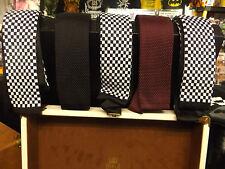 mens mod black square end slim tie-silk knit-warrior made in england-ska