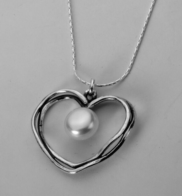 N02339SP SHABLOOL ISRAEL Didae FW Pearl Sterling Silver 925 Heart Necklace