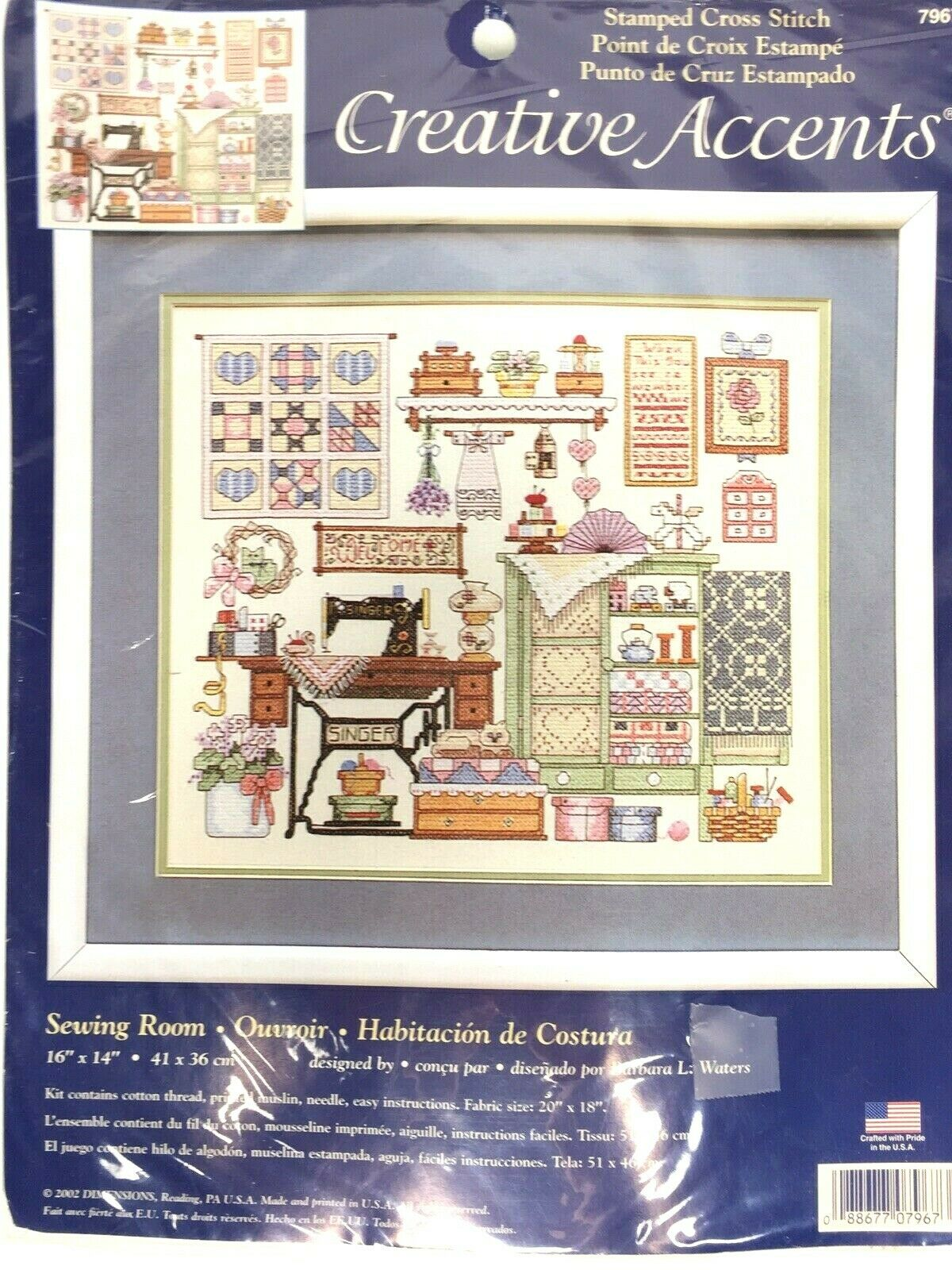 L Art Du Point De Croix new 2002 creative accents sewing room stamped cross stitch kit #7967  dimensions