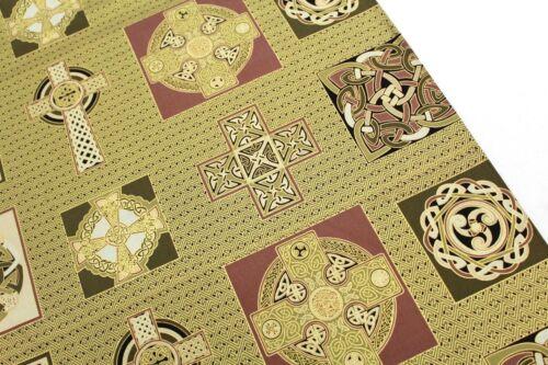 "Cushion Panel,44/"" 100/% Premium Quilting Cotton Celtic Range,Stunning Gold Foil"