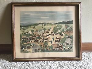 Old-Vintage-COUNTRY-FAIR-Framed-Print-Litho-Lithograph-by-Grandma-Moses