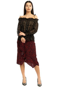 RRP €325 JUST CAVALLI Silk Top Blouse Size 42 / M Spotted Ruffle Made in Italy