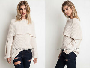 OFF-WHITE-08-FOLDOVER-SWEATER-Top-Chunky-Knit-Off-the-Shoulder-Boat-Neck-S-M-L