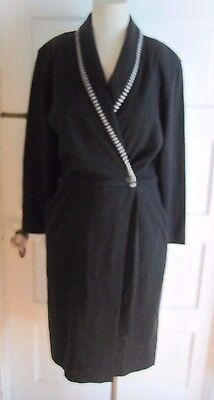 Beechers Brook Woven Jersey Knit Shawl Collar Wrap dress Womens 8 Black Canada   eBay