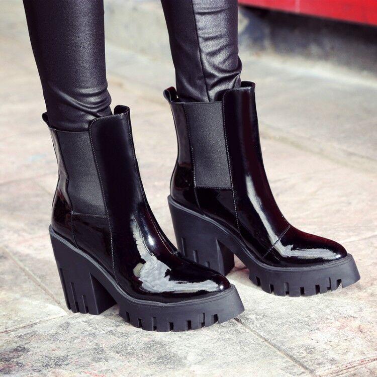 Women's Patent Leather Pull On Black Black Black Platform Chukka Chunky Heel Ankle Boots New e13e19