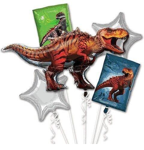 Jurassic World Red T-Rex 5pc Mylars Birthday Bouquet Foil Balloons Decoration