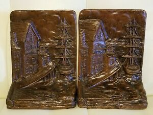 Man a readinga  book at desk Vintage Syroco Wood Bookends