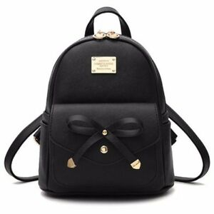 Girls Bowknot Cute Bag Pu Leather Backpack Mini Backpack Purse For Women Fashion by Ebay Seller
