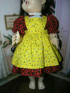 New-3-pc-Dress-Apron-Set-Doll-clothes-fits-22-23-034-Ideal-Saucy-Walker-or-Pedigree