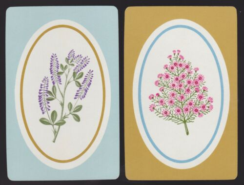 2 Single VINTAGE Swap//Playing Cards FLOWERS ID /'FLORAL OVALS FO-7-8 /& 7-9/'