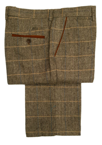 Da Uomo Marc Darcy Tweed controllo Formali Eleganti Pantaloni DX7-Tan