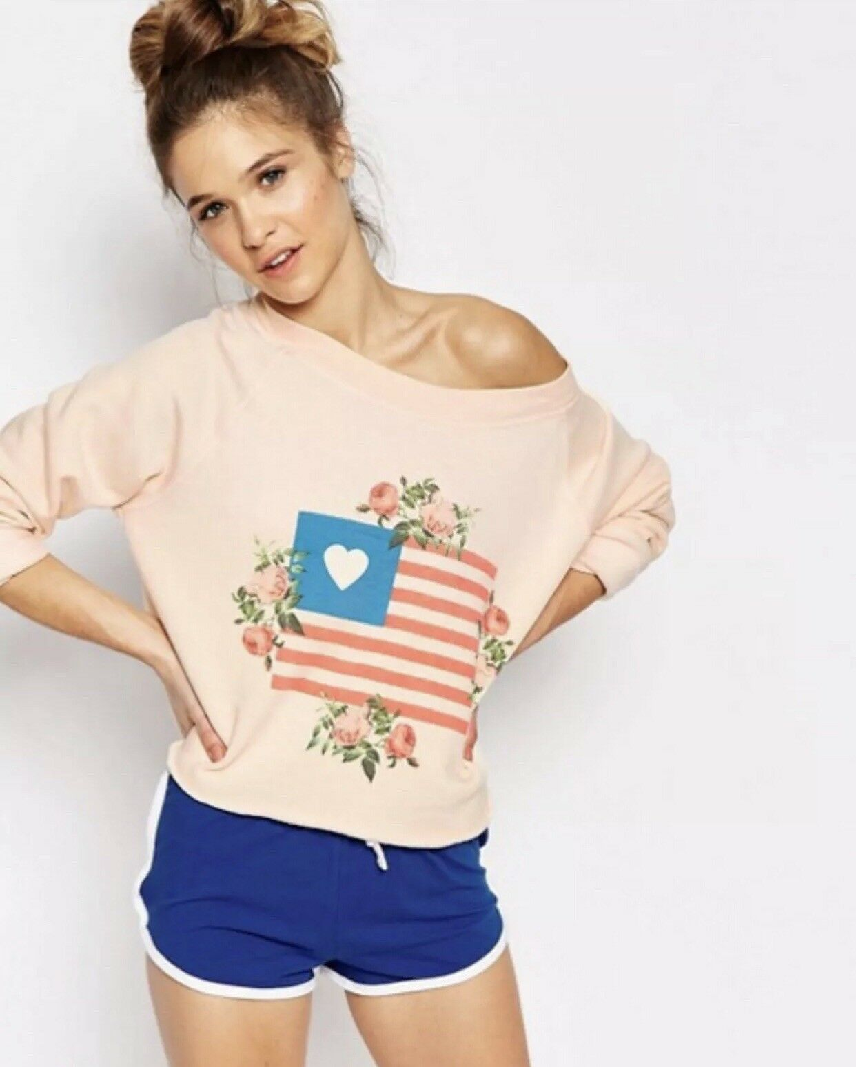 Wildfox Granny's Flag Floral Peach Cropped Loose Fit Sweatshirt S NWT Sweater