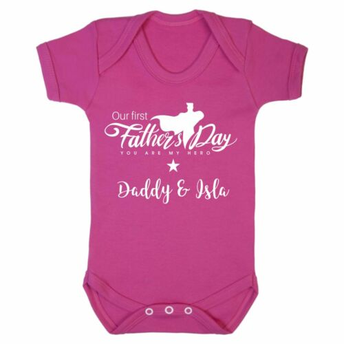 Baby Grow First Fathers Day Personalised Superhero Gift Present Newborn 1st