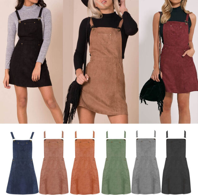 Women New Ladies Suede Sleeveless Dungaree Pinafore Mini Skater Dress Size  6-16