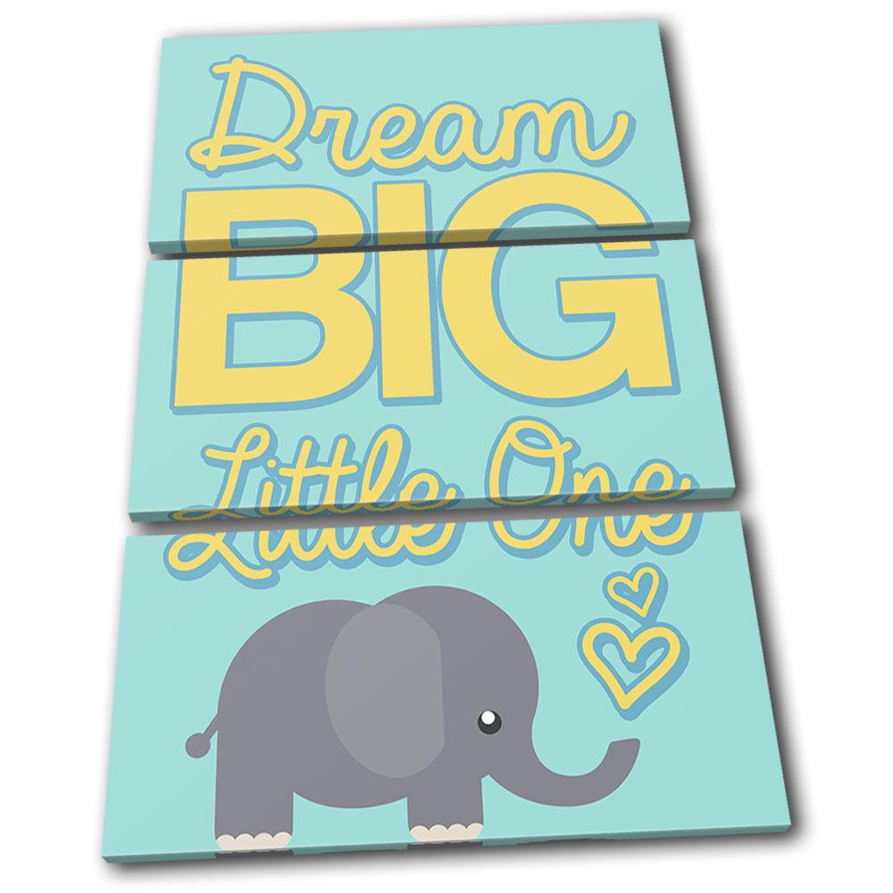 Dream Big Elephant Baby Baby Baby  For Kids Room TREBLE TELA parete arte foto stampa 407568