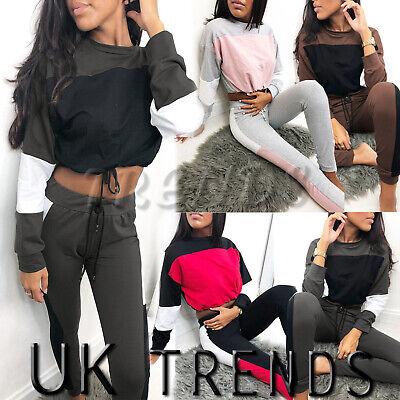 UK Womens 2 PCS Drawstring Cropped Tracksuits Set Ladies Active Wear Size 6-16