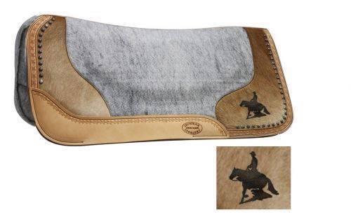 32  X 31  silla  de fondo de Fieltro Pad Con Cuero De Vaca Genuino & Láser Grabado Reining Caballo  ¡envío gratis!