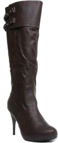 Salt And Pepper Chain Womens Synthetic Knee High Boot Brown Size UK 3-8