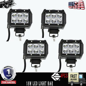 4x 4inch 18W Spot LED Work Driving Light Fit For 4WD Offroad SUV Tractor JK FJ40
