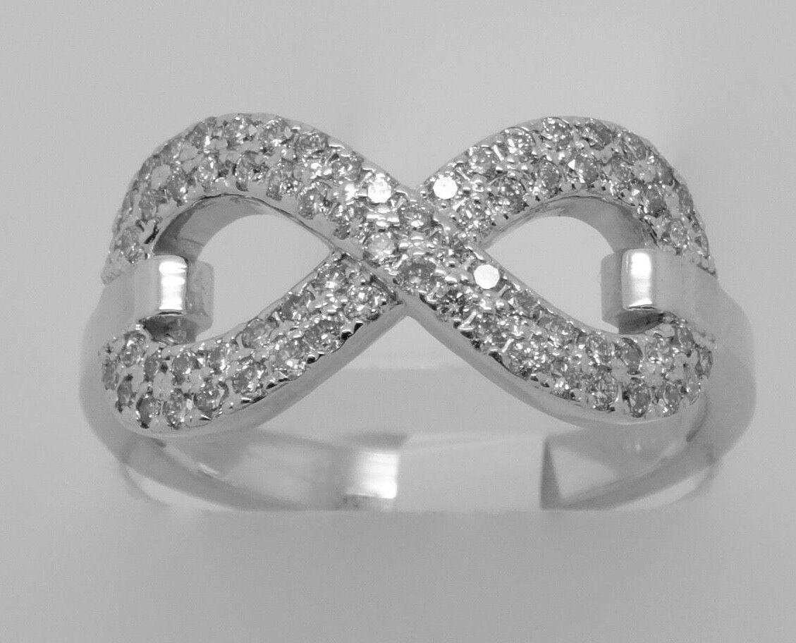 14k WHITE gold MICRO PAVE DIAMOND INFINITY RING