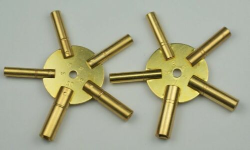 CLOCK WINDING KEYS brass spider odd/even pair all sizes key wind old clocks