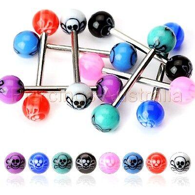 UV Skull Cross Bone Ball Tongue Bar Ring Stud Barbell Piercing CHOOSE LENGTH