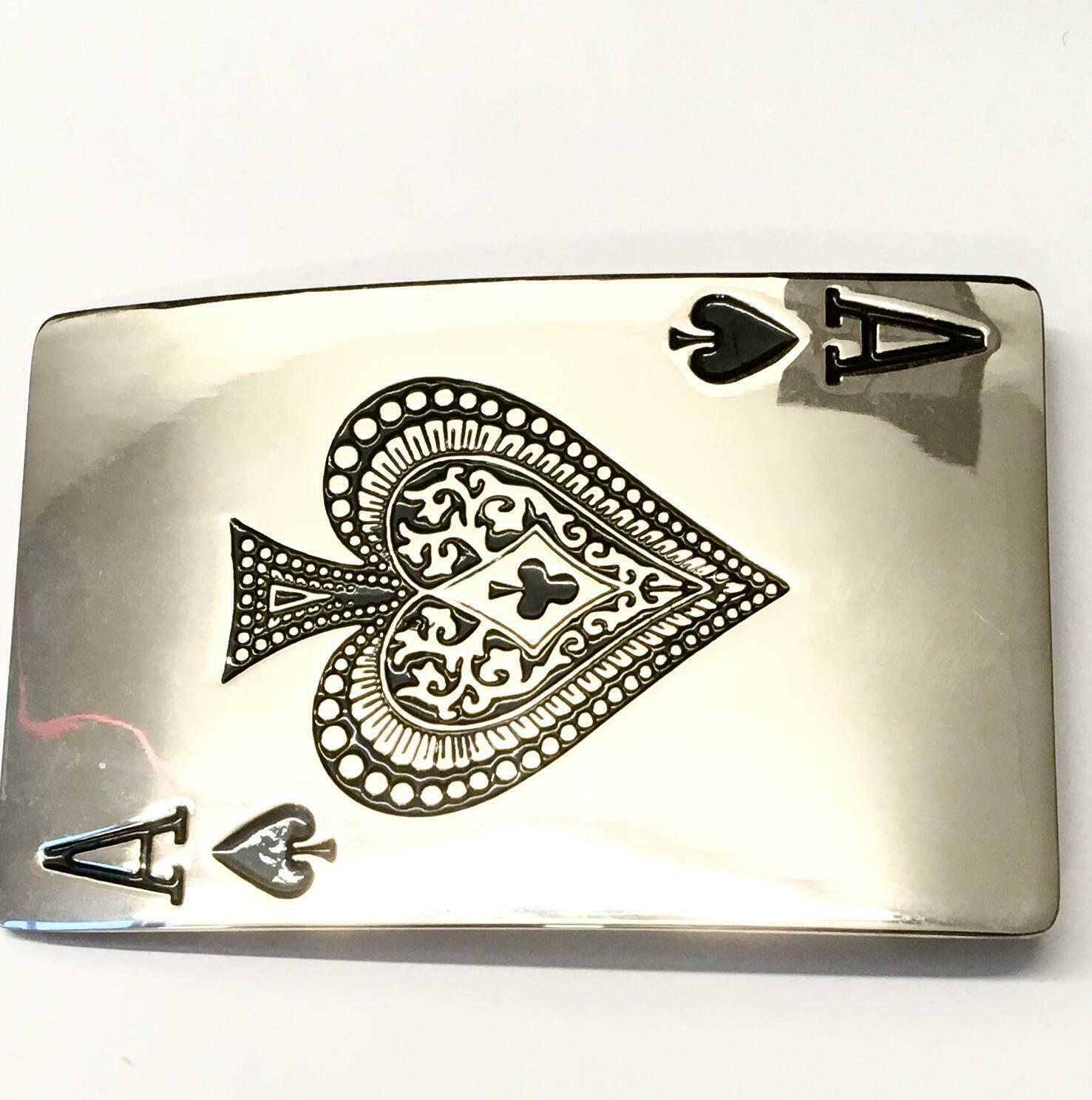 Belt buckle playing card poker symbols silver