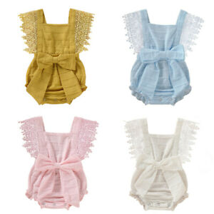 UK-Newborn-Infant-Baby-Girl-Boy-Solid-Lace-Bow-Romper-Bodysuit-Clothes-Outfits