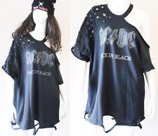 AC/DC Distressed Sexy Rocker mini dress or Top  Cutting T-shirts S-XL Black