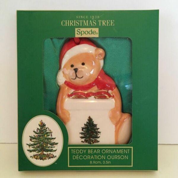 Spode Christmas Tree Sale: Spode Christmas Tree Teddy Bear Holding Present Ornament
