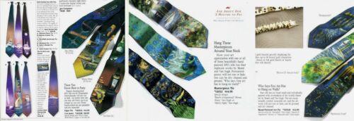 Van Gogh Sidewalk Cafe Hand Painted Men Silk Neck Tie Art Novelty