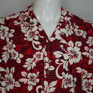 49a8a54872 Details about Hilo Hattie Aloha Hawaiian Shirt Floral Camp Red White  Hibiscus USA Mens XL B20