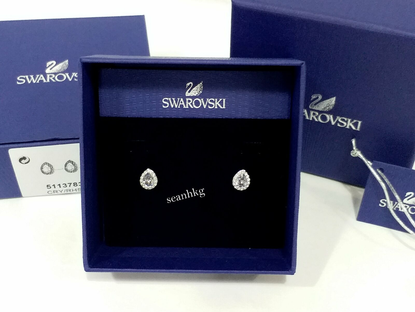 Swarovski Christie Pear Pierced Earrings Dark bluee crystal Authentic MIB 5113783