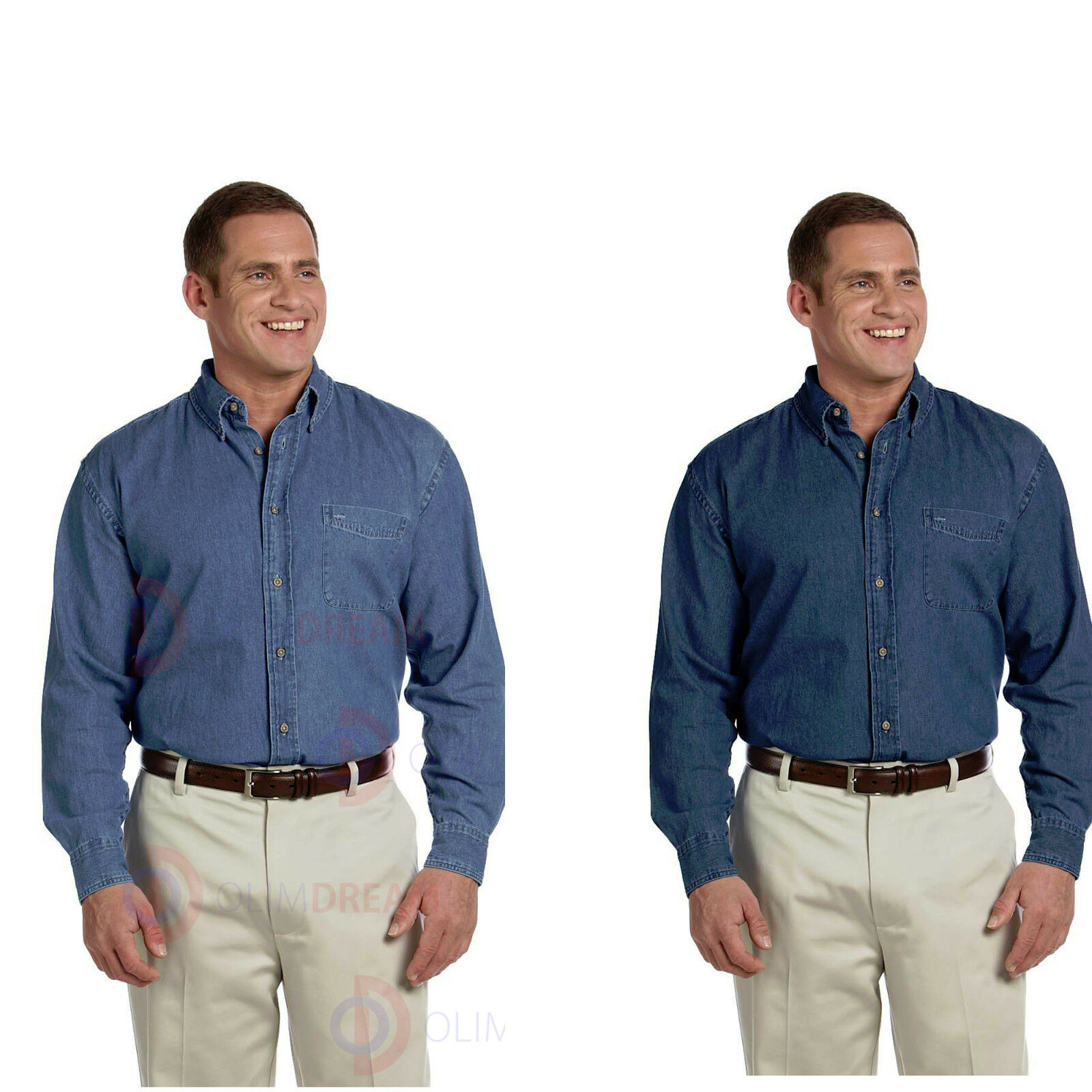 da677a8326d Harriton Men s Cotton Casual Long-Sleeve Denim Shirt M550 S-6XL